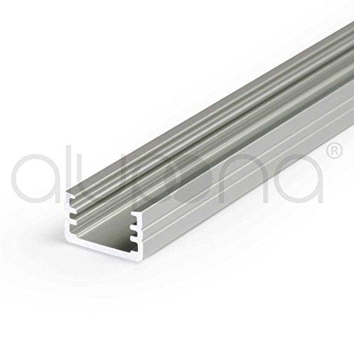 1-2m Aluprofil SLIM (MI) 1 Meter Aluminium Profil-Leiste eloxiert für LED Streifen - Set inkl Abdeckung-Schiene mit Montage-Klammern und Endkappen … Zubehör-Set nein, Größe 2 Meter (200cm), Farbe transparent slide (Beleuchtung Slide)