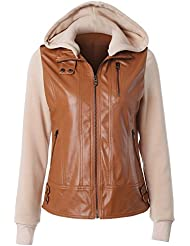 ZQQ Las señoras occidental estilo cuero moda chaqueta con manga de cuello desmontable empalme chaqueta marrón con capucha cremallera , brown , xl