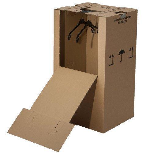 2 Mini-Kleiderboxen 600 x 510 x 1000 mm / Qualität: 2.40 BC (doppelwellig) / inkl. Kleiderstange / für Umzug Kleider Transport Verpackung Karton Kiste Kleidung thumbnail