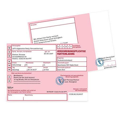 Einladungskarten zum Geburtstag als Rezept | 50 Stück | Inkl. Druck Ihrer persönlichen Texte | Lustige Geburtstagseinladungen - individuell | Karte Einladung