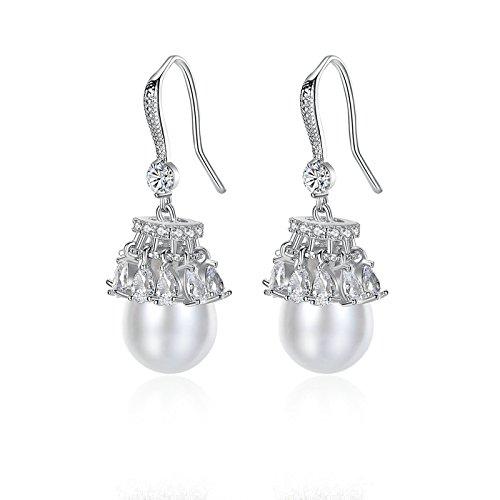 Beydodo Frauen Ohrringe Versilbert Rund Weiß Zirkonia Perle Silber Ohrhänger Ohrringe Hochzeit für Braut (Hinten Doppel-passe)