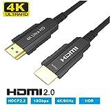 CableDeconn Câble HDMI Fibre Optique 4Kx2K@60Hz 18Gbps Ultra Haute Vitesse HD,Conforme à la Norme HDMI 2.0 Câble Optique HDMI Flexible Ultra-Plat pour HDTV 10m 33ft