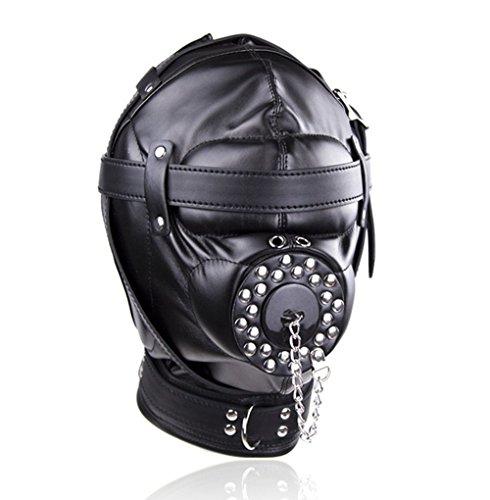 bierboyisi Maske aus Kunstleder, Unisex, Kapuze mit Nieten, offener Mund und mit DREI Schloss-Kostümen