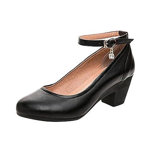 OCHENTA Chaussure Femme Escarpins de Travail Talon Bloc 5CM Bride Cheville Confortable Noir 38