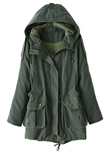 Trench sMITHROAD femmes automne hiver parka matelassée avec capuche manteau d'hiver long de l'oversized la cuisse armée vert - - FR:46