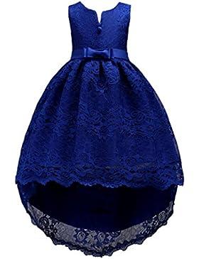 BYSTE Ragazze Abito Elegante Trailing Vestito da principessa Senza maniche ricamato Bowknot Vestiti,Vestito da...