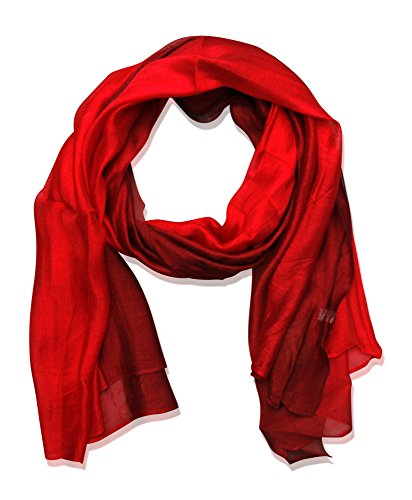 beybey Damen Seide Schal mit Farbverlauf (rot)