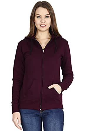 FLEXIMAA Women's Cotton Hoodie (Brown, Large)