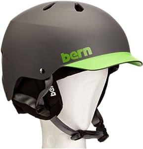 Bern Men's Watts Brim with Black Liner Helmet - Grey/Green, Medium