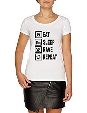 Jergley Eat Sleep Rave Repeat Camiseta Blanco Mujer | Women's White T-Shirt