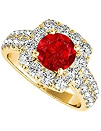 Yellow Gold Vermeil Halo Engagement Ring with Ruby CZ