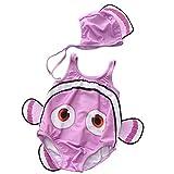 ARAUS Unisex Baby Schwimmanzug Set Einteiler Badeanzug+Badekappe UV-schutz Clownfish Kostüm für 0.5-13 Jahre