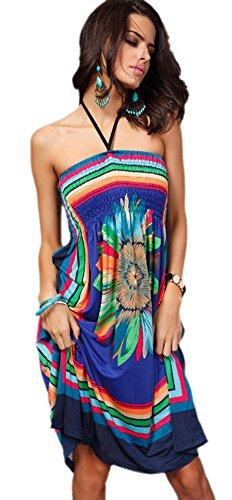 ... Honeystore Damen's Bohemian Sonnenblume Druck Sommer Hawaiisch Strand  Zivilkleidung Rötlich-Blau ...