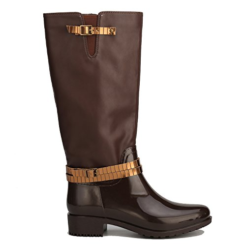 Alexis Leory Wellies Tall, Stivali da pioggia alti Wellington donna Marrone
