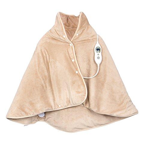 VIDABELLE 12496 Wärme-Cape, Heizdecke zum rüberlegen für Rücken, Nacken und Schulter, inklusiv Abschaltautomatik und maschinenwaschbar, beige