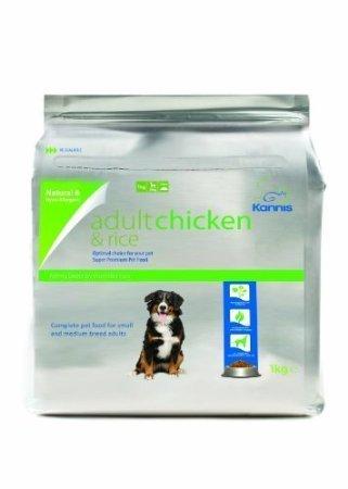 Kannis Pet Foods U.K. - Aliments secs pour chiens adultes Kannis Adult à base de poulet et de riz pour petites et moyennes races - Poids: 1 kg