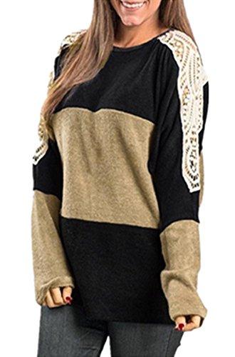 Internet Damen Lässige Spitze Langarm Lose Wolle T-Shirt Tops Blusen (khaki, S) (Knit Printed Short)