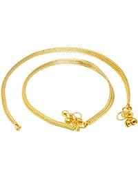 Memoir Gold Plated Flat Snake Chain Design ghungroo Anklet for Women
