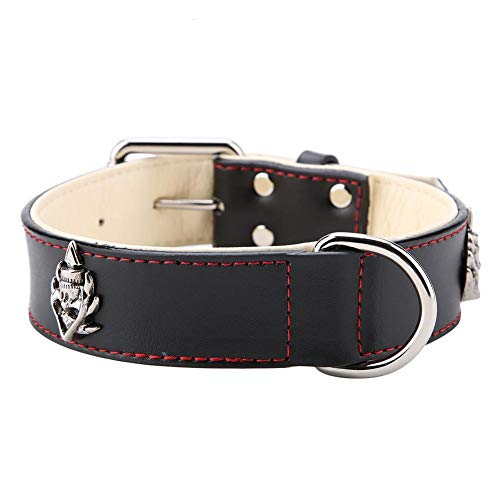 GLOGLOW PU Leder Hundehalsband , modisch verstellbar Pitbull Medium Large Dog Hals Schmuck Zubehör Ornament(L-Schwarzer) (Pitbull Schmuck)