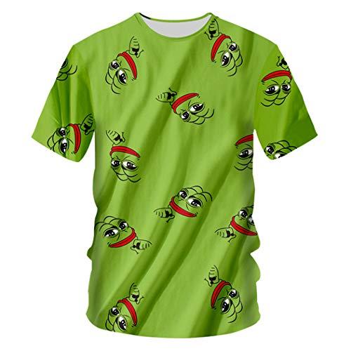 Sommer Herren 3D Print Pepe The Frog Hip Hop Lässige Kurzarm O-Neck T-Shirt Tops Pepe The Frog 4XL