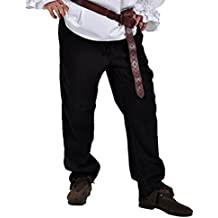 Piratas Pantalones Pantalón medieval gótico (Tallas S–XXXL Negro 4530