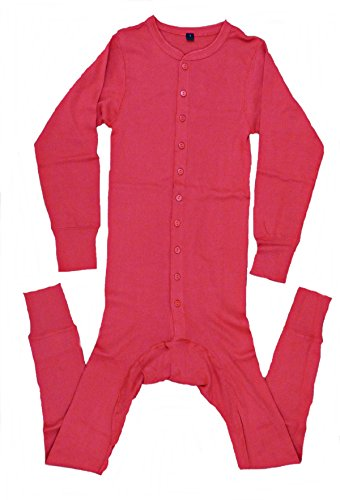 Long John Westernunterwäsche Einteiler mit Gesäßschlitz rot S-4XL (4XL)