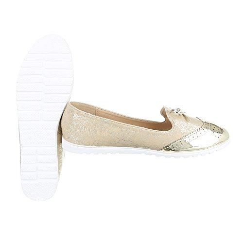 Slipper Damenschuhe Low-Top Moderne Ital-Design Halbschuhe Gold