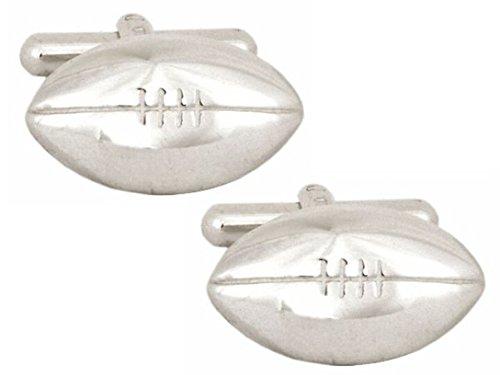 Premium Qualität dalaco Sterling Silber Manschettenknöpfe. Luxus Manschettenknöpfe mit hoher Qualität Geschenkbox und Stift. Hergestellt in England., Rugby Ball, onesize