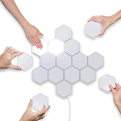 Coral Tree Quantum Lamp Touch Sensitive Light Modular Hexagon Panel Lamp Magnetic DIY Creative Decoration Wall Lighting Touch lamp for Bedroom (10 Module with Power Supply)