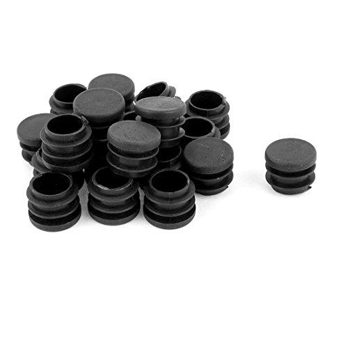 Ciego Tapones Para Patas Tubo Redondo Inserción Tapa 19mm Dia 20 Pc Negro