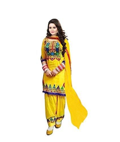 Leela Creators Women's Yellow Cotton Semi-Stitched Patiala Suit (Free Size_Yellow_126)