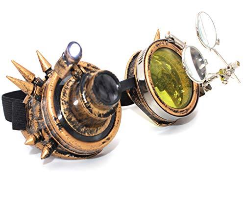 MFAZ Morefaz Ltd Schutzbrille Schweißen Sonnenbrille Welding Cyber LED Goggles Steampunk Goth Round Cosplay Brille Party Fancy Dress (Spikes Gold LED Light)