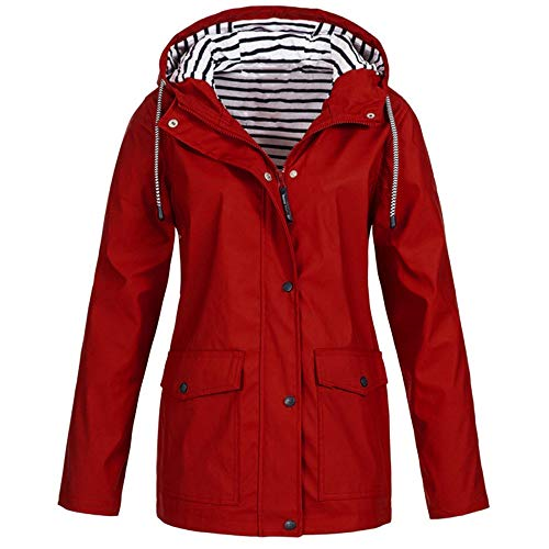 Damen Outdoor Plus Wasserdichter Regenmantel mit Kapuze Winddicht Anti-UV Jacke Sonnenschutz Jacke Softshell Jacke Windjacke Sportjacke Freizeitjacke ()