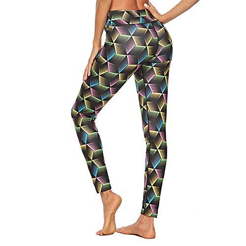 uen Sport Fitness Leggings 3D Nähen Digitaldruck Muster hohe Taille Stretch atmungsaktive Strumpfhosen Outdoor-Freizeit, Bild Farbe, M ()