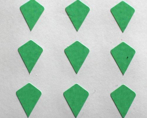 150 Etiquetas, 10x7mm Forma Cometa, Verde, pegatinas autoadhesivas, Minilabel Formas