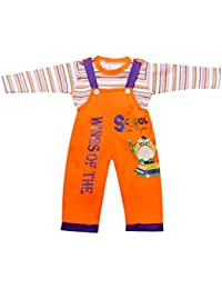 Babeezworld Stylish Comfortable Fashionable Baby Kids Summer Cotton Dungaree Set With Round Neck Half Sleeves T shirt Top Vest Adjustable Strap & Attractive Colour Soft Cotton Half Pant with Elasticated Waist Suitable For Girls & Boys