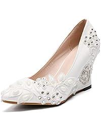 HLG Encaje zapatos de boda marfil punta cerrada destello de perforación flores cuña talón corte bomba zapatos zapatos…