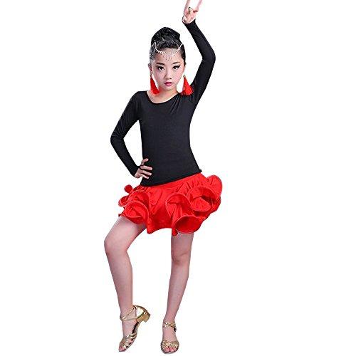 XFentech Kinder Mädchen Tanz Kleidung Oberteile + Rock 2 Stücke Lateinischer Tanz Performance Leistung Wettbewerb Kostüm, Stil-2/110 (Zwei Stück Tanz Wettbewerbs Kostüm)