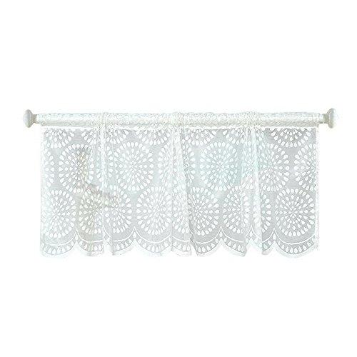 Lifemaison tenda cucina corta in pizzo bianco, tendina scorrevole trasparente, adatta a bistrot, cucina,balcone e salotto, 45x150cm