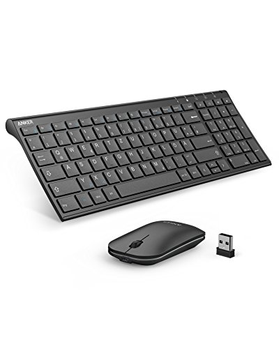 Anker Wireless Tastatur Maus Set 2.4GHz Ultra Dünne Kabellos Aufladbar (1 Akkuladung läuft 3 Monate lang) Tastatur (QWERTZ, Deutsches Layout) & Maus für Laptop PC Tablet & Smart TV (Schwarz)