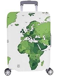 Mapa del Mundo detallado Vector de Color Verde Patrón de Spandex Maleta con Ruedas Maleta Protectora