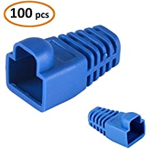 SHiZAK 100pcs Azul Botas de plástico Blando Ethernet RJ45 Enchufe Alivio de tensión para Cable Cat5e