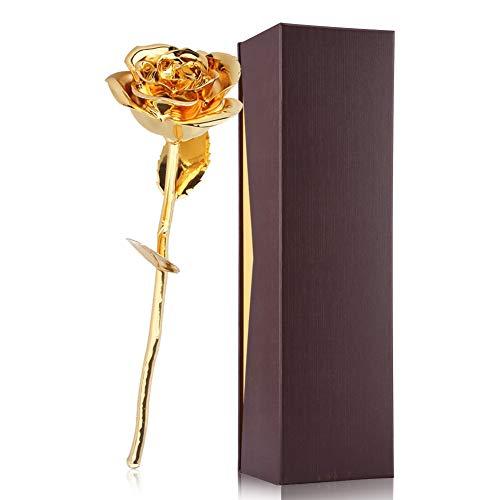 Filfeel 24K Gold Rose, Rose mit Verpackungskasten, Romantisches persönliches liebevolles Blumengeschenk für Frau Freundin Geburtstag Muttertag Hochzeitstag Jahresta (Gold) Vergoldete Rose