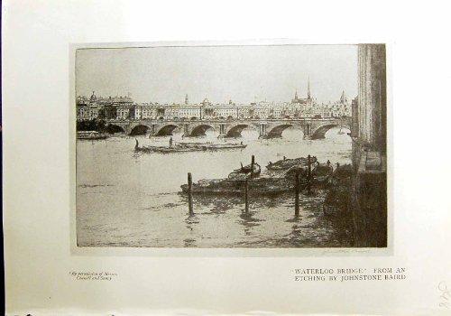 1912 Antike Boote Rathaus Quay Zürich Druck-Waterloo-Brücke Johnstone Baird
