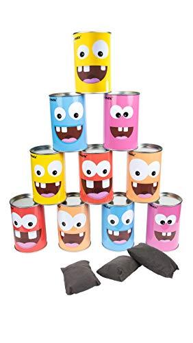 My Pinata - Dosenwerfen Spiel für den Kindergeburtstag - inkl. 10 witzigen Blechdosen und 3 weichen Wurfbällen gefüllt mit Bohnen - Dosenwurfspiel als Outdoor Spielzeug für den Kinder und Erwachsene