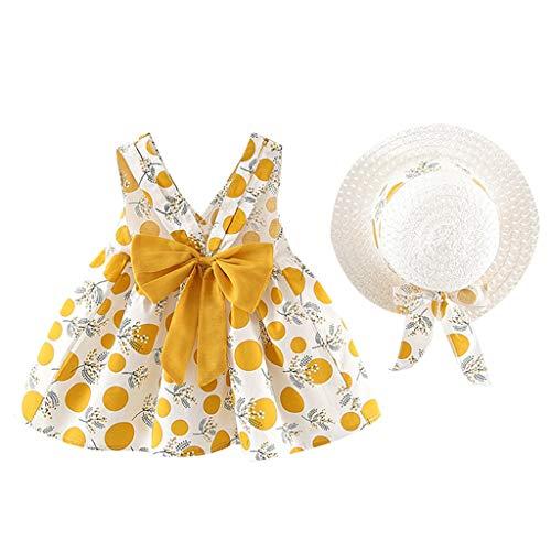 LSAltd Kleinkind Baby Kinder Mädchen Sommer Süße Blumen Polka Dot Print Bowknot Sling Prinzessin Kleid Mit Hut Outdoor Strand Schönes Outfit Set -