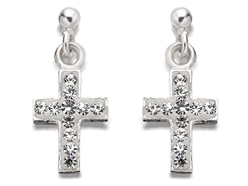 2b38435dd F.Hinds Womens Ladies Sterling Silver Crystal Cross Stud Earrings - 15mm  Drop - Buy Online in Oman. | Jewellery Products in Oman - See Prices, ...