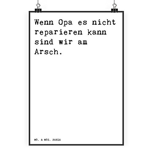 Mr. & Mrs. Panda Poster DIN A2 mit Spruch Wenn Opa es Nicht reparieren kann, sind wir am Arsch.