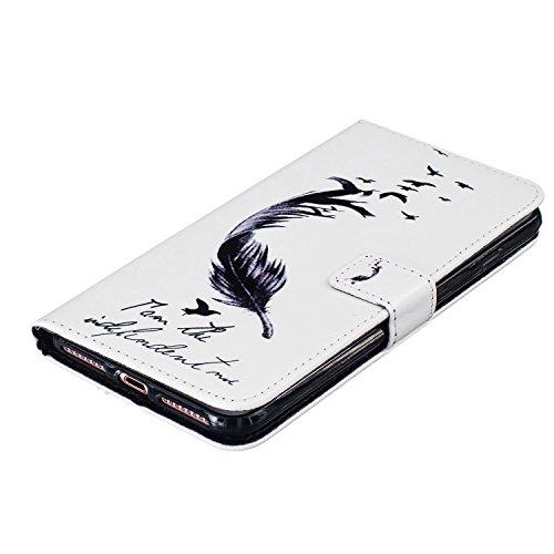 AllDo iPhone 7 PLUS Hülle (mit eine Displayschutzfolie) PU Leder Hülle mit Standfunktion für iPhone 7 PLUS Klapp Brieftasche Schutzhülle Bookstyle Ledertasche Soft Flip Wallet Case Cover Weiche Glatte Federkiel