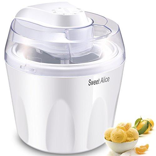Eismaschine, Sweet Alice 1,5 liter Ice Cream Maker, 3 in 1 Speiseeismaschine, mit Timer & Rezeptvorschläge, Sorbet Maschine Yogurt Maker, Eismaschinen Weiß für zu Hause